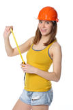 Woman holding tape measure Royalty Free Stock Photography