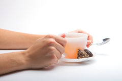 Woman holding tea cup. Stock Images