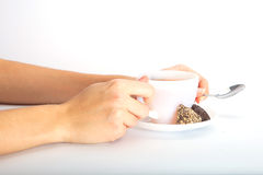 Woman holding tea cup. Royalty Free Stock Images