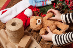 Woman holding teddy bear toy Stock Image