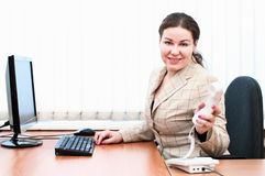 Woman holding telephone handset Royalty Free Stock Photo