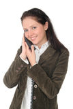 Woman holding a telephone handset Stock Photo
