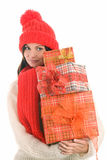 Woman holding three gifts Stock Photo