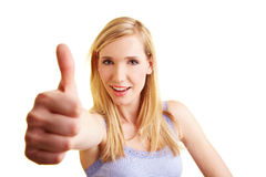 Woman holding thumb up Royalty Free Stock Photo