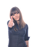Woman holding thumb up Stock Images
