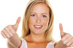 Woman holding thumbs up Stock Photos
