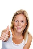 Woman holding thumbs up Royalty Free Stock Images