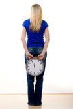 Woman Holding Time Stock Images