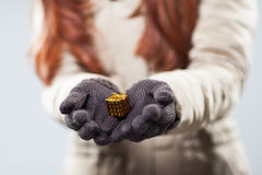 Woman holding a tiny gift in her hands Stock Images