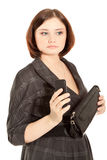 Woman holding  to phone Royalty Free Stock Image