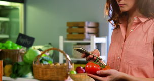Woman holding tomato and using mobile phone stock video