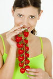 Woman holding tomatoes Royalty Free Stock Images