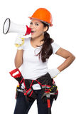 Woman holding tool and megaphone Royalty Free Stock Photo