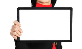 Woman holding  touch pad Royalty Free Stock Photo