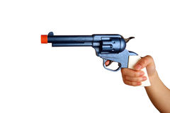 Woman holding toy gun. In blue and orange Royalty Free Stock Image