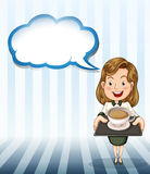 A woman holding a tray with coffee Stock Images