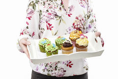 Woman holding tray with colorful cupcakes Stock Image