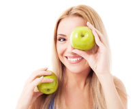 Free Woman Holding Two Apples Royalty Free Stock Photo - 24358075