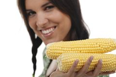 Woman holding two corn cobs. Isolated on white Stock Photography