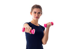 Woman holding two dumbbells Royalty Free Stock Photo