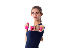 Woman holding two dumbbells Stock Image