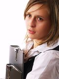Woman holding two folders stock images