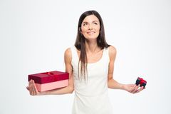 Woman holding two gift boxes Royalty Free Stock Photography
