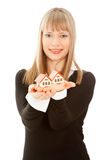 Woman Holding Two House (focus On House)