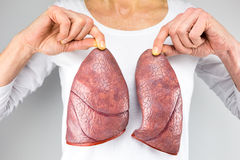 Woman holding two lung models in front of chest. Female person holding two artificial models of lungs in front of body with white shirt royalty free stock images