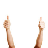 Woman holding two thumbs up Stock Images