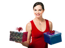 Woman holding two wrapped gifts Stock Images