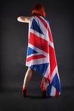 Woman holding an UK flag Stock Photo
