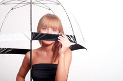 Woman holding umbrella Royalty Free Stock Photos