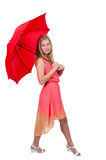 Woman Holding Umbrella Stock Photos