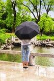 Woman holding an umbrella Stock Photos