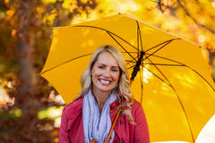 Woman holding umbrella at park Stock Image