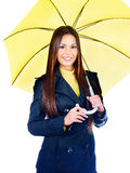 Woman holding umbrella. Pretty long hair woman holding umbrella, isolated on white background Royalty Free Stock Image