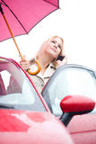 Woman Holding Umbrella In Rain Calling For Help Royalty Free Stock Images