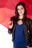 Woman Holding Umbrella Slight Smile Royalty Free Stock Image
