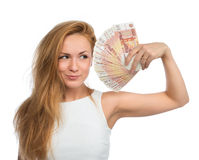 Woman holding up many cash money five thousand russian rubles no Royalty Free Stock Photography