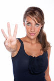Woman Holding Up Three Fingers Royalty Free Stock Photos