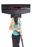 Woman holding vacuum cleaner Royalty Free Stock Photo