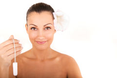 Woman holding vaginal tampon Stock Images