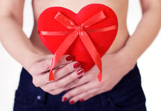 Woman holding a Valentine\'s Day heart Royalty Free Stock Photo
