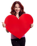 Woman holding Valentines Day heart Stock Photos