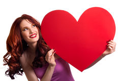 Woman holding Valentines Day heart Royalty Free Stock Photography