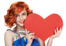 Woman holding Valentines Day heart isolated Royalty Free Stock Image