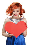 Woman holding Valentines Day heart isolated Royalty Free Stock Photography