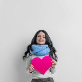 Woman holding Valentines Day heart Royalty Free Stock Photos