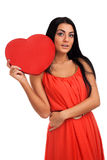 Woman holding Valentines Day heart sign Royalty Free Stock Photos